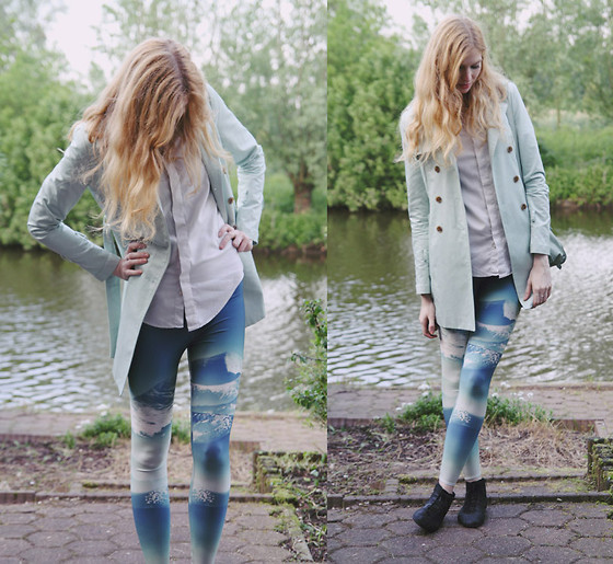 Zuzi * - Leggings, Zara White Shirt, Mint Coat, Bag - Mountains on my feet