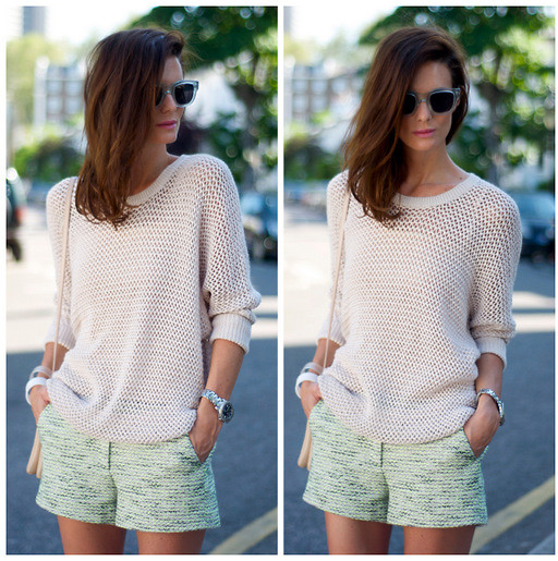 Hedvig ... - H&M Jumper, Sandro Tweed Shorts, Acne Studios Sunnies - Contrasts