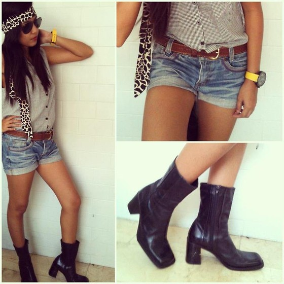 Erika Aguilar - Aldo Black Boots, Mossimo Big Yellow Watch, Sleeveless With Collar Top, Denim Shorts - Edgy side of a Girl