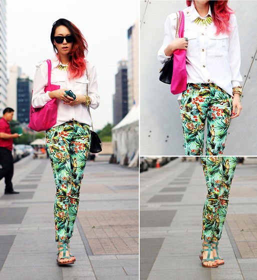 Karen Lee - Zara Tropical Print Pants, Fennec Coolest Iphone Case Ever Existed - Put on the Tropical Paradise