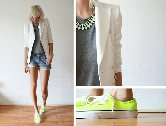 Sietske L - H&M Neon Necklace And Top, Zara Blazer, Levi's® Levis Shorts, Vans Neon - Vans of the wall. [romwe give-away on my blog]