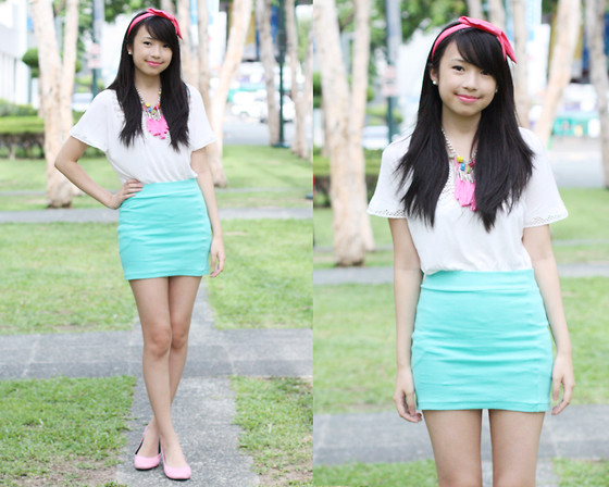 Sophie Ramos - Chick Flick Tassel Necklace, Chick Flick Wired Headband, Shoe Library Pink Flats - Bubble Gum