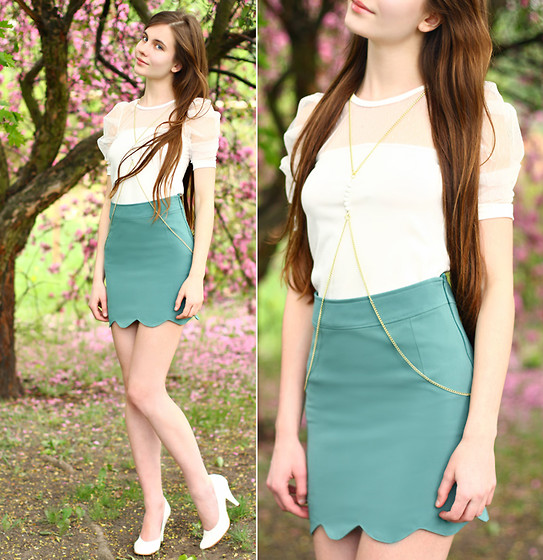 Ariadna Majewska - Mimi Vogue Mint Skirt, Orizonte Ivory Heels, Skatt Gold Body Chain, Pink Doll White Top - Wonderland