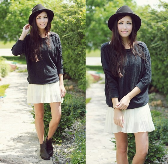 Breanne S. - Clubcouture White Pleated Dress, Girlfriends Material Braided Sweater, Forever 21 Brown Hat - Some nights