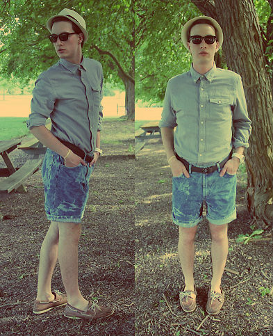 Tim Roddy - Fossil, Lb Button Down, Vintage Shorts, Chaps Shoes, H&M Hat - Lights, Camera, Action