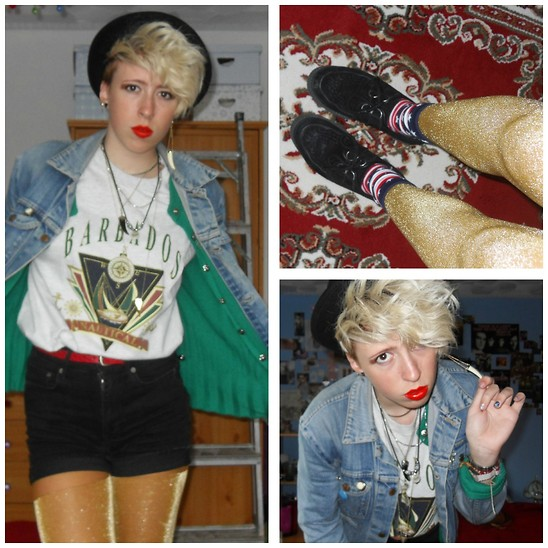 Hannah Morrissey - Topshop Tights, Topshop Jewellery, Primark American Flag Socks, Ebay Bowler Hat, Charity Shop Denim Jacket, Vintage Green Cardigan, Charity Shop Barbados Tshirt, H&M Shorts, Creepers, Vinatge Red Belt - Slick chrome american prince~