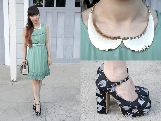Toshiko S. - Cat Print Pumps, Tulle Dress With Pleats, Sway Gold Collar Necklace, Dooney & Bourke Vintage Two Tone Leather Satchel - Mint to be a Cat Lady