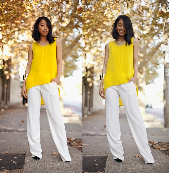 Margaret Zhang - Sass And Bide Dip Hem Top, Sass And Bide Wide Leg Trousers, Sass And Bide Gold Cuff, Siren Pointed Courts - Sass and Bide.
