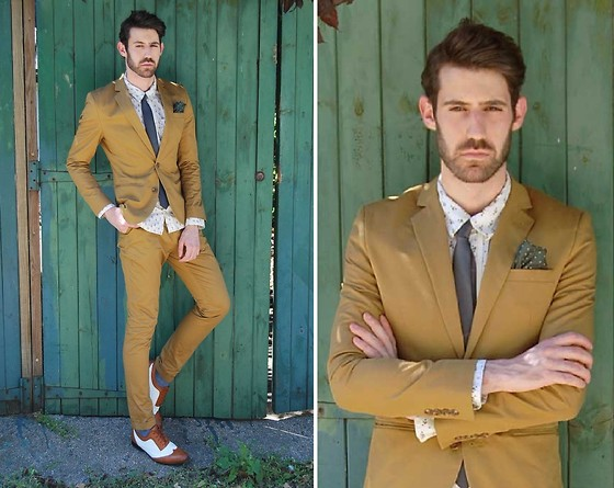 Adrian Cano - Mustard Suit, Bicolour Brogues - Cheers Darling
