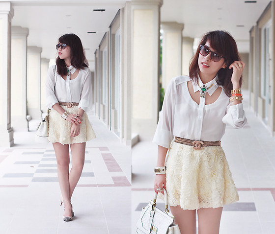 Linda Tran N - Cut Out Shirt, Skirt - White cream cheese