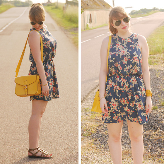 Laura T. - Dress, Bag, My Little Bow Bracelet, New Look Sandals - Yellow blue