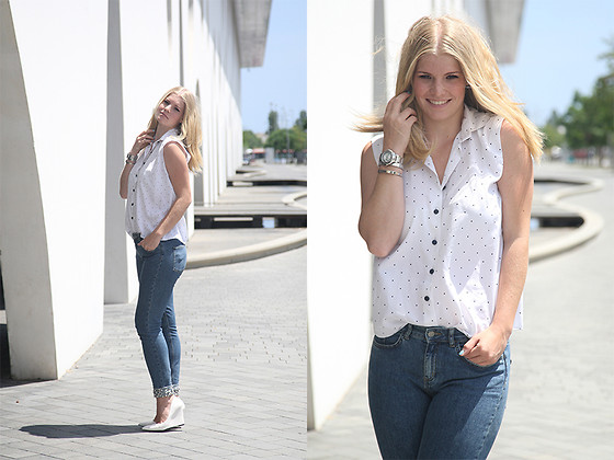 Kimberley Denise - Cartier Watch, H&M Jeans, Mango Heels - Basic pearls.