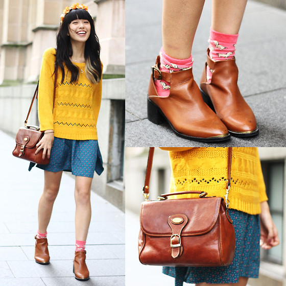 Connie Cao - Topshop Buckle Boots, Vintage Dress, Vintage Bag, Kani Flower Headband - Casual weekend