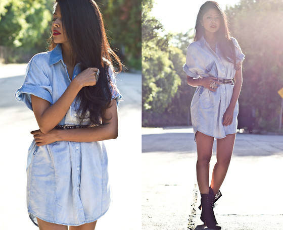 Sheryl L - Boxy Denim Shirt Dress, Vintage Belt - THE SHIRT DRESS