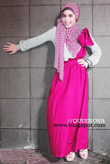 Nova Fatmawati - Queenaya Stripe Pashmina Pink, Queenaya Jumpskirt Pink - Girly with Pink :)