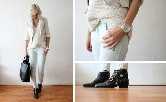 Sietske L - Topshop Leather Vest, Zara Knitted Jumper And Mintgreen Jeans, Michael Kors Watch, Sacha Boots - Pastels it is