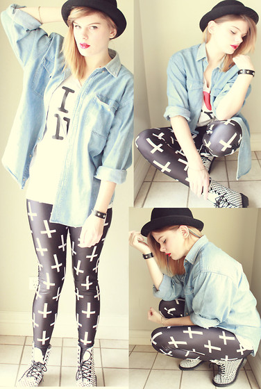 Sarah Peters - Unknown Denim Shirt, Sports Girl Bowler Hat, Black Milk Clothing St Peters Cross Leggings, Diva Studded Cuff, Dr. Martens Spotted Doc, Thrifted I Heart Ny Shirt - I WANT TO WORK FOR TOPSHOP!