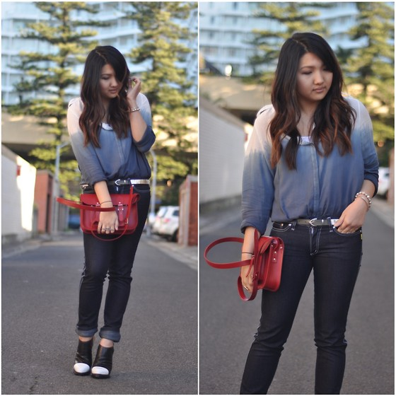 Karen - Zara Dip Dye Shirt, Bettina Liano Jeans, Cambridge Satchel Bag, Alexander Wang Caroline - Simple dip-dye.