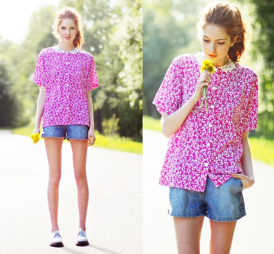 Ebba Zingmark - From Local Secondhand Store Shorts And Blouse, Dr. Martens Shoes - Dandelions and Dragonflies