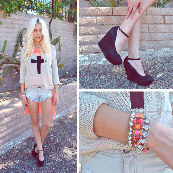 Rae Shoemaker - H&M Neon Blouse, Love Stone Crucifix Knit Jumper, One Teaspoon Roller Original Denim Shorts, Sam Edelman Suede Wedges, H&M Arm Candy - Hope you can give me love. Hope, can you give me some