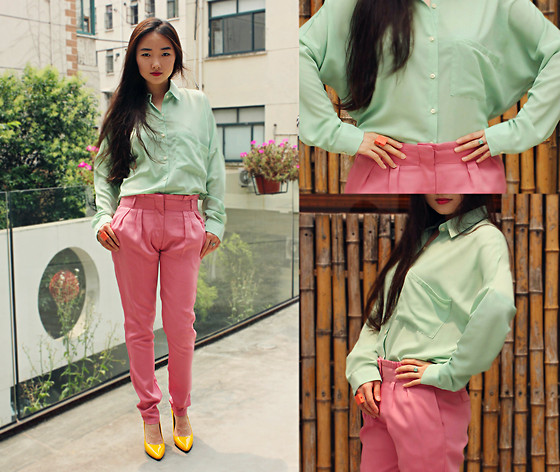HEIDI KIM - Mint Pocket Shirts, Pink Pants With Pleat Front - BEING SOFT HARDLY...