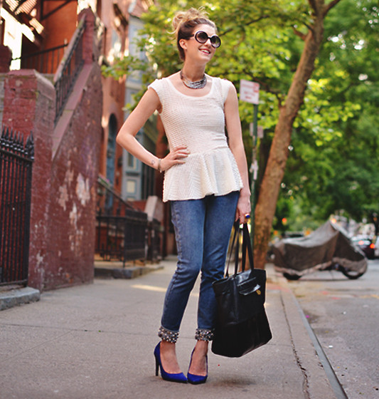 Laura Ellner - Chanel Sunglasses, Karen London Choker, Zara Peplum Top, H&M Bedazzled Jeans, Pour La Victoire Tote, Michael Kors Pumps - Bedazzled