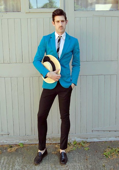 Adrian Cano - Kingfisher Blazer, Vintage Tie, Vintage Hat, Smart Skinny Trousers, Loafers - Are you?