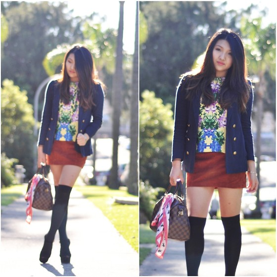 Karen - Asos Floral Top, Forever 21 Suede Skirt, Louis Vuitton Speedy 30, Steve Madden Dynamite - Old love.