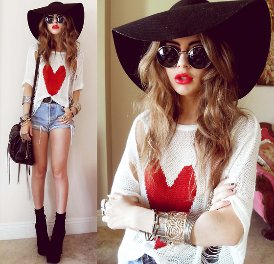Bebe Zeva - Native Heart Holy Top, Nixon Floppy Hat, Zigi Boots - HEARTS ON FIRE