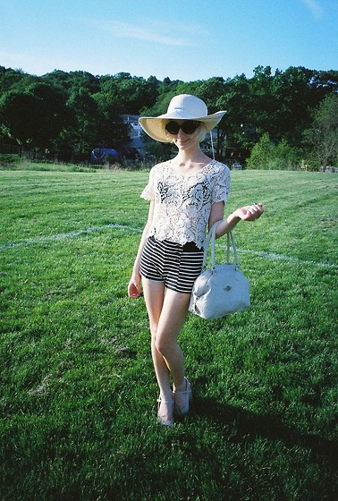 PAUL ISLAND - Ralph Lauren Creme Sunhat, Lace Tee, Minnie Mouse Stripper Shorts With Gold Buttons, Tahari Nude Cork Wedges, Dover White Purse, Grament District Round Sunglasses R.I.P -  before being with you