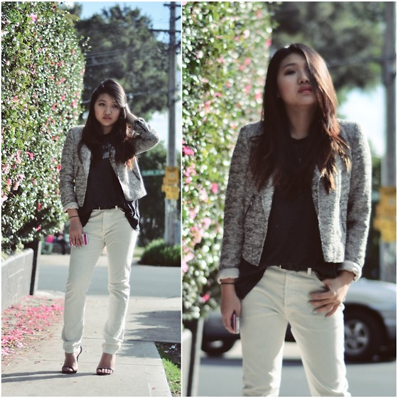 Karen - Bassike Jeans, Zara Tweed Jacket, Wildfox Couture It Was The Best Of Times, Tony Bianco Karissa - Sweatpants friday.