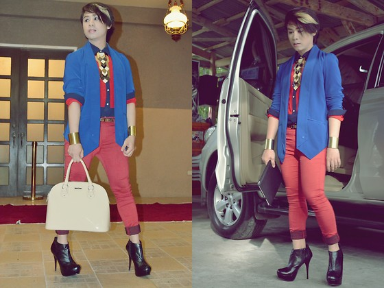 Kirk Tuan - Mango Bag, Forever 21 Blazer, Wagw Inner Top, Dorothy Perkins Jeans, Prp Shoes, Diva Accessories - Blue and Red