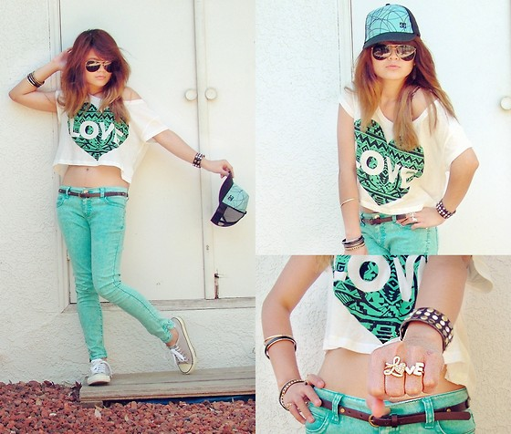 Faye Danielle - Forever 21 Love Cropped Shirt, Forever 21 Colored Denim Jeans, Forever 21 Love Connector Ring, Dc Cap - L O V E + Shades of Green