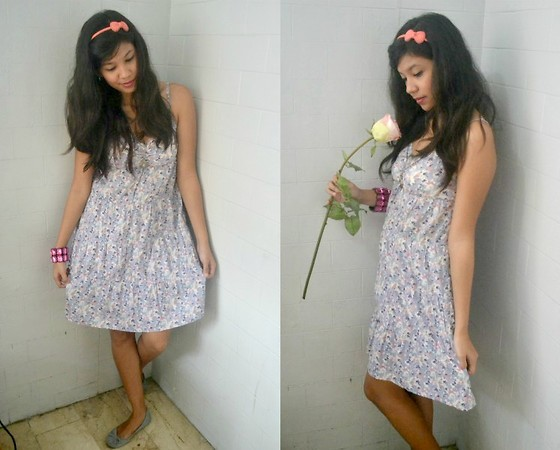 Erika Aguilar - Pink Dot Coral Head Band With Bow, H&M Floral Dress, Soulmate Ballet Flats - Sweet and Sassy