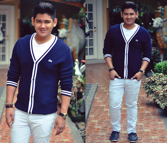 Xavier Cruz - Lacoste Cardigan, H&M White Slim Fit, Timberland Boatshoes, Fossil Gold Watch - Royal Blue