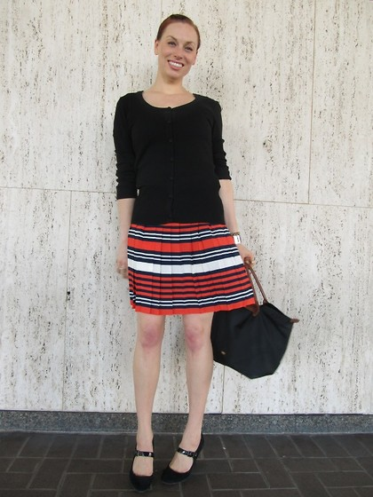 Caity Shreve - H&M Cardigan, Zara Tank, Vince Camuto Pleated Skirt, Target Merona From Mary Jane's, Longchamp Le Pliage Bag, Vintage Cuff Watch - Wannabe Wu