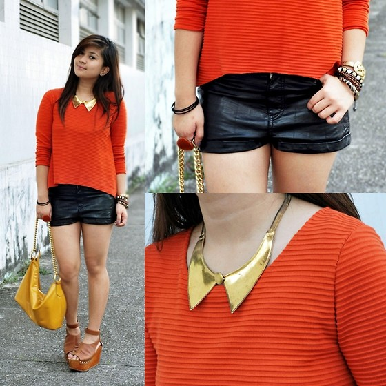 Carla Florendo - Natkiel Collar Necklace, H&M Leather Shorts - Collar and Coral
