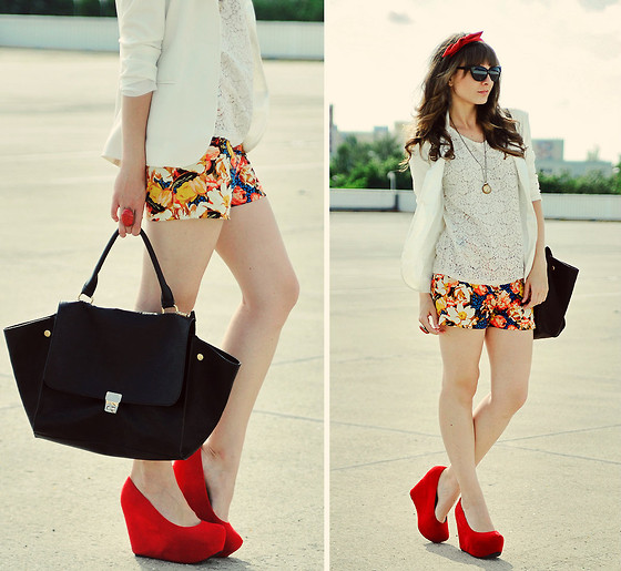 Maddy C - Wedges, Shorts - Red heels.