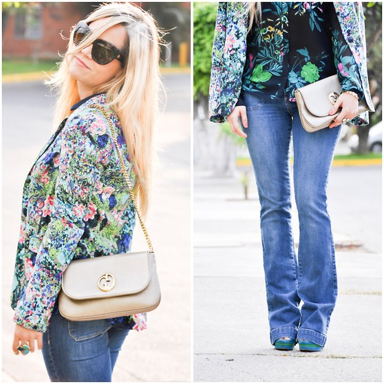 Cassandra De La Vega - Gucci Handbag, House Of Harlow Sunglasses, Za Top, Zara Blazer - Mixing prints