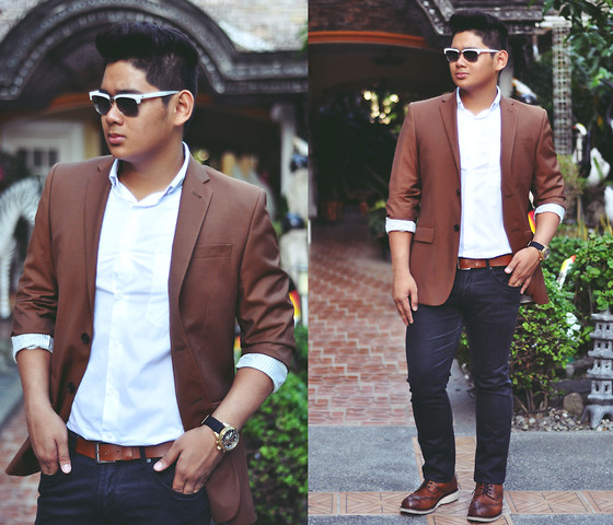 Xavier Cruz - Police White, H&M Brown Coat, H&M Classic Polo, H&M Brown Belt, Zara Black Slim Fit, Stefanorossi Brogues Shoes, Fossil Black And Gold - Visionary