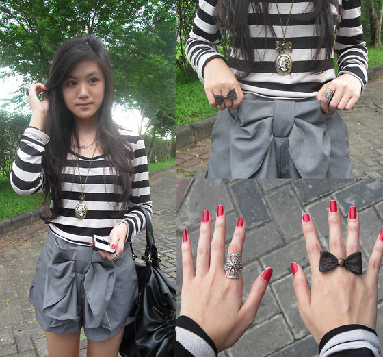 Brigitta Monique - Unbranded Black And Cream Stripes, Mangga Dua Square Bow Shorts, Random Ribbon Ring And The Necklace - I call it Stribbon