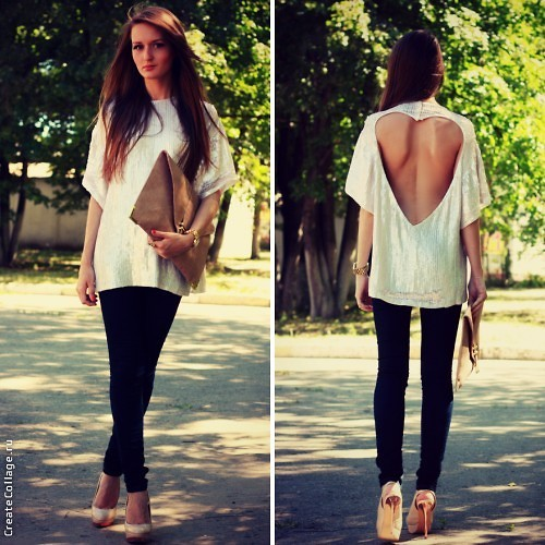 Sasha Shcherbakova - Asos Top, Asos Jeans, Zara Shoes, Asos Clutch - Sequin top with a secret