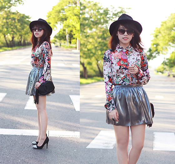 Linda Tran N - Zara Floral Shirt, Metallic Skirt - Something floral, something metallic