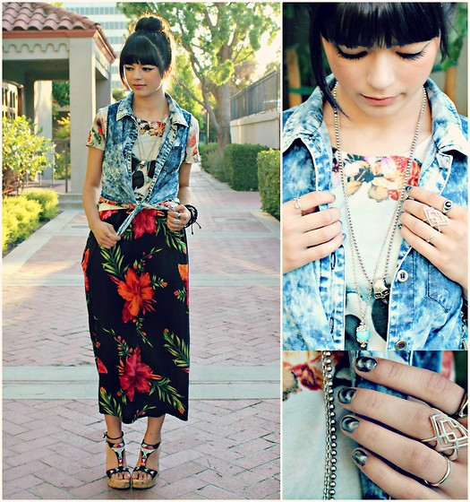 KENDALL SANCHÈZ - Thrift Flower Print Dress, Skull Shirt, Forever 21 Acid Washed Vest, Turquoise Necklace, Sally Hanson Silver Elements Nail Polish - .Bowl of Oranges.