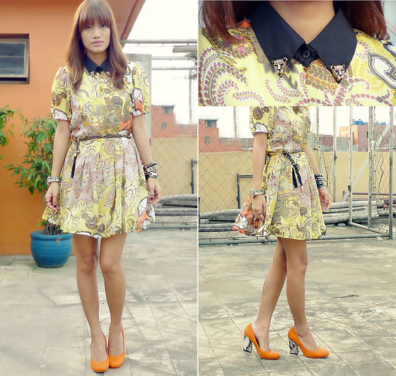 Pax I. - Primadonna Orange Pumps, Penshoppe Tassel Belt, Pinkbox Bangle, Romwe Dress - Dainty in Paisley