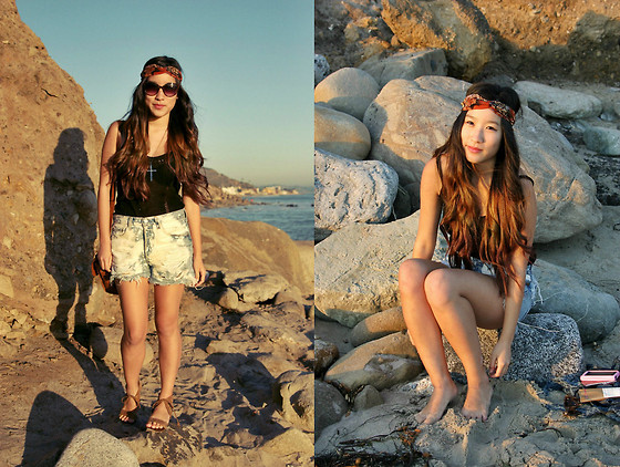 Judy L - Thrifted Bleached Cutoffs, Thrifted Black Knit Tank, Turban, Jeffrey Campbell - Bleached Sunset