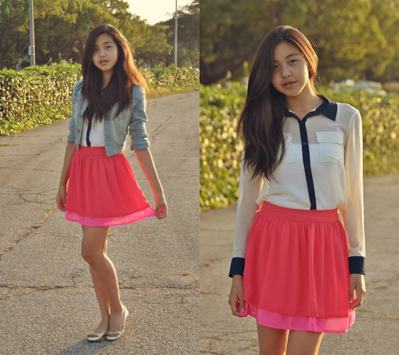 Amelia Jin - H&M Denim Jacket, H&M Neon Skirts, Blouse, Bakers Flats - Tetris