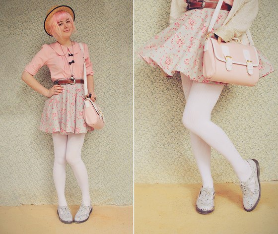Annika Victoria - Striped Opaque Tights, Dr. Martens Cutout Floral Docs, Diy Floral Circle Skirt, Pink Peter Pan Blouse, Boater Hat, Vintage Belt, Pink Satchel Bag - DIY Skirt & Pastelly Goodness