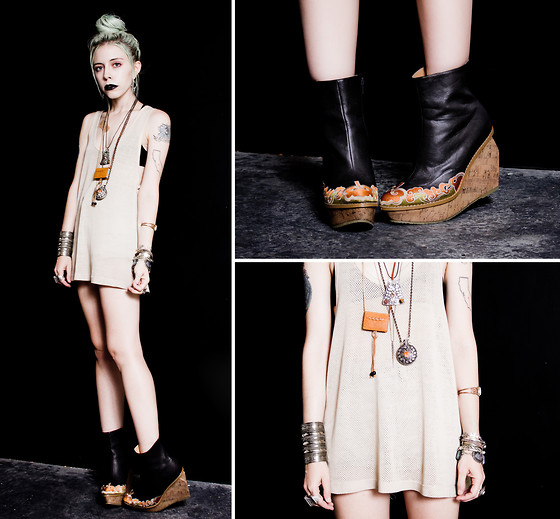 Madeline Pendleton - Oasap Boots, Vanessa Mooney Necklace, Jfr Cuff - Black Lips