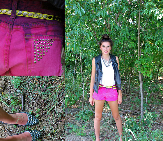 Alexis Kelly - Target Neon Yellow Studded Belt, Diy Ombre Shorts, Zigisoho Studded Flats, Express Leather Vest, American Eagle Studded Necklace, American Eagle Chain Necklace - Cotton Candy Ombré